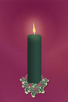 Single Green Christmas Candle Stock Photos
