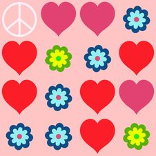 Free Many Shapes Of Heart, Flowers And  Peace Symbol Royalty Free Stock Image - 35601076