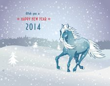 Free Winter Landscape With Snow Horse New Year 2014 Stock Image - 35601611