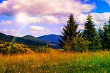 Free Meadow With In The Mountains Royalty Free Stock Photos - 35607118