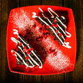 Free Christmas Chocolate Cake Dessert With Pomegranate On Wooden Tabl Royalty Free Stock Photography - 35618897
