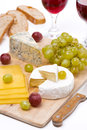 Free Cheese Platter, Grapes, Ciabatta And Two Glass Of Wine Royalty Free Stock Image - 35618986
