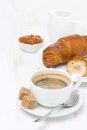 Free Cup Of Black Coffee And Croissants With Orange Jam Royalty Free Stock Photos - 35619018