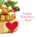 Free Golden Gift Box, Red Heart And Roses, Isolated Royalty Free Stock Images - 35619269