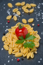 Free Italian Pasta Shells, Cherry Tomatoes, Salt And Pepper Stock Photos - 35619343