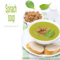 Free Spinach Soup With Croutons, Isolated Stock Photo - 35619450