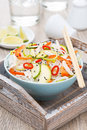 Free Thai Salad With Vegetables, Rice Noodles And Chicken In Bowl Stock Image - 35619491