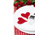 Free Two Wicker Heart On A Plate And Red Roses, Isolated Stock Images - 35619524