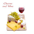 Free Three Kinds Of Cheese, Grapes And Wine, Isolated Stock Photography - 35619582