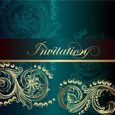 Free Elegant Invitation Card With Floral Elements Royalty Free Stock Photo - 35610175