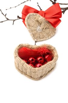 Free Wicker Basket  With Red Beads Stock Images - 35610194