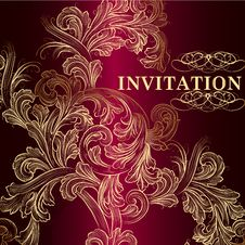 Free Luxury Vector Invitation Card In Vintage Style Stock Photo - 35610220