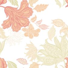 Free Seamless Wallpaper Pattern With Floral Elements For Design Stock Photography - 35610232