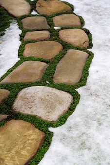 Free Stone Footpath In Snow Stock Photos - 35613003