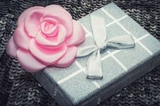Free Gift Box With Decorative Flower Stock Images - 35614434