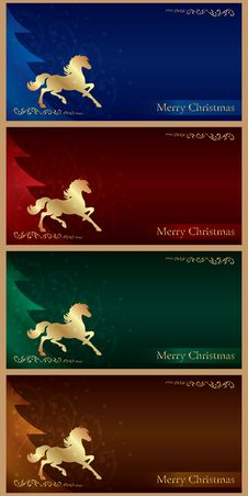 Background With Horse Silhouette And Christmas Tree, Vintage Set Royalty Free Stock Photo