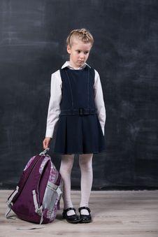 Free Latecomers Schoolgirl Near Blackboard Stock Image - 35617941