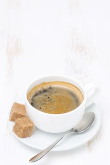 Free Cup Of Coffee With Sugar On White Table And Space For Text Royalty Free Stock Photos - 35619028