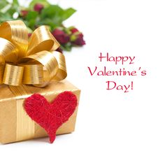 Golden Gift Box, Red Heart And Roses, Isolated Royalty Free Stock Images