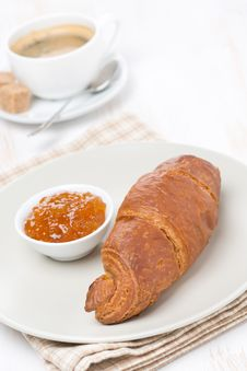 Fresh Croissant With Jam And Coffee Royalty Free Stock Photos