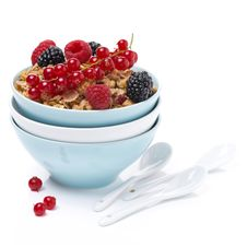 Free Homemade Granola With Berries In Bowls And Spoons,  Isolated Stock Image - 35619321