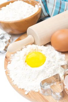 Free Ingredients For Baking Cookies - Flour, Egg And Baking Forms Stock Photography - 35619332