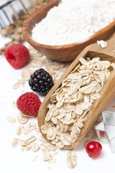 Oatmeal, Flour, Eggs And Berries - Ingredients For Baking Stock Image