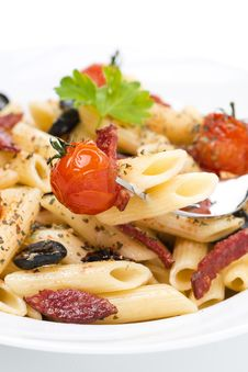 Free Penne Pasta With Sausage, Cherry Tomatoes And Olives, Close-up Royalty Free Stock Images - 35619389