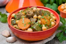 Tagine With Beef, Vegetables And Chickpeas, Close-up Royalty Free Stock Photo