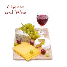 Three Kinds Of Cheese, Grapes And Wine, Isolated Stock Photography