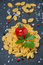 Free Italian Pasta Shells, Cherry Tomatoes, Salt And Pepper Stock Photos - 35619343