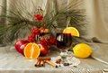 Free Glass Of Mulled Wine, Apples, Oranges, Cinnamon Sticks And Spices Stock Photo - 35620260