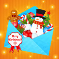 Free Funny Cartoon Snowman On Christmas Background. Stock Images - 35624654