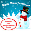 Free Funny Cartoon Snowman On Christmas Background. Stock Photos - 35624713