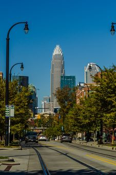 Charlotte City Skyline Autumn Season Royalty Free Stock Images