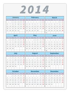 Free Calendar 2014 Royalty Free Stock Photo - 35621415