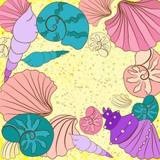 Free Vector Background With Colored Shell Royalty Free Stock Photo - 35623665