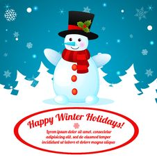 Free Funny Cartoon Snowman On Christmas Background. Royalty Free Stock Photography - 35624687
