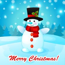 Free Funny Cartoon Snowman On Christmas Background. Stock Photo - 35624690