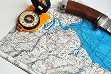 Free Map, Compass, And A Knife. Royalty Free Stock Image - 35628166