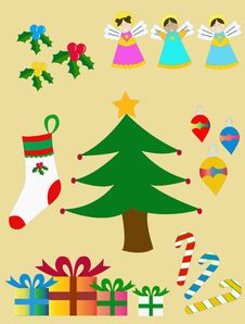 Set Christmas Figures Royalty Free Stock Images