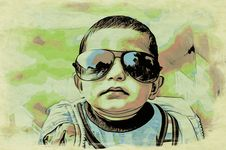 Free Water Color Portrait Of Funny Baby Child Royalty Free Stock Photography - 35634357