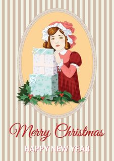 Free Retro Christmas Card Royalty Free Stock Images - 35637769