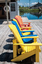 Free Beach Chairs In Different Colors Royalty Free Stock Images - 35649949
