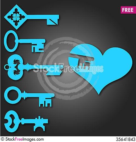 Free Keys From Heart Stock Photos - 35641843