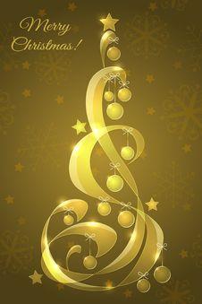 Glass Christmas Tree With Christmas Balls Stock Photography