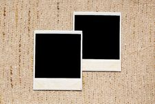 Free Empty Photo Frames On Linen Texture Royalty Free Stock Photos - 35645108