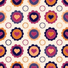 Seamless Pattern With Hearts And Flowers Stock Images