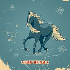 Happy New Year Vintage Card With Blue Horse Stock Photo