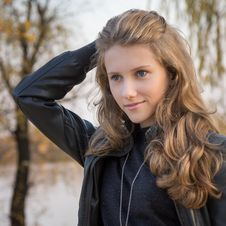 Beautiful Young Girl Outdoors Royalty Free Stock Photography